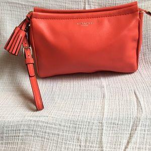 Coral coach leather clutch, wristlet, wallet, bag